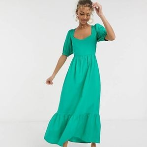 ASOS Design Tiered Puff Sleeve Maxi Dress 10